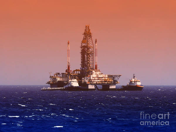Oil Rig In Gulf Of Mexico, Dramatic Poster