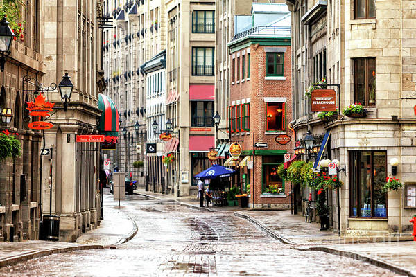Old Montreal Morning Street Scene 2010 Poster