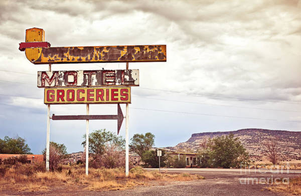 Old Motel Sign On Route 66, Usa Poster