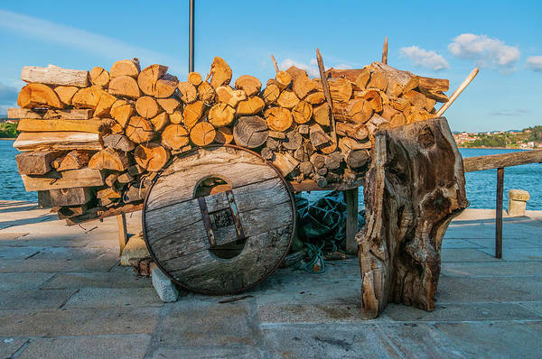 Old Wooden Wagon, Loaded With Logs Poster