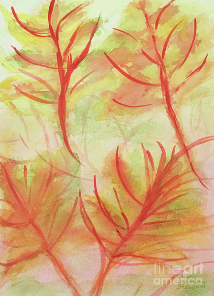 Orange Fanciful Leaves Poster