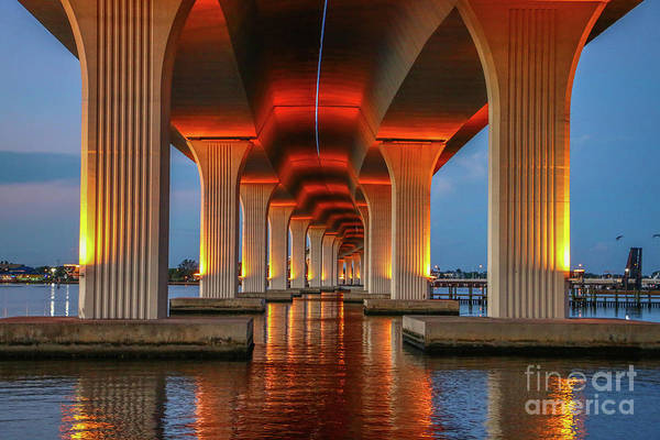 Poster featuring the photograph Orange Light Bridge Reflection by Tom Claud