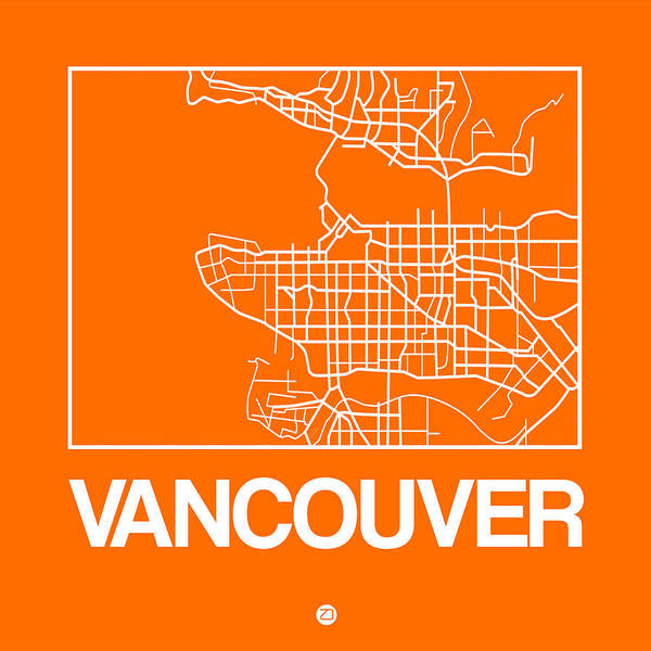 Orange Map Of Vancouver Poster