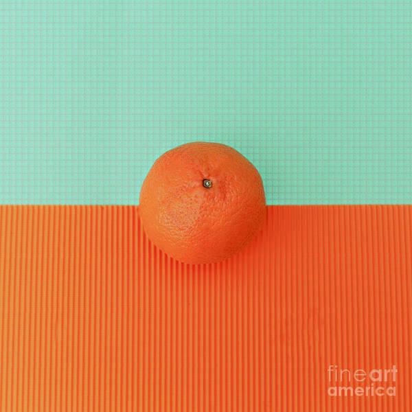 Orange On Bright Background. Minimalism Poster
