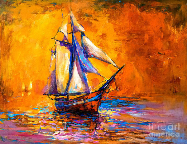 Original Oil Painting On Canvas-sail Poster
