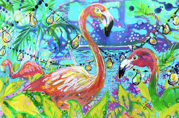 Outdoor Flamingo Party Poster