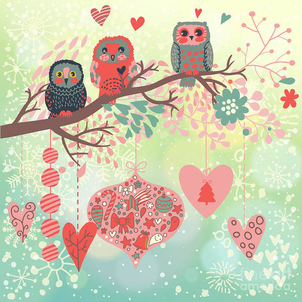 Owls On The Branch In Leafs And Hearts Poster