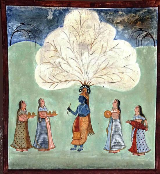 Painting Fresco Of Krishna In The Women's Zenana Poster