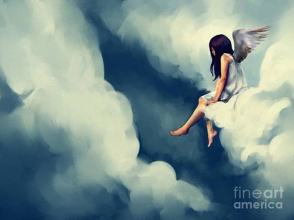 Painting Of Beautiful Angel Sitting On Poster