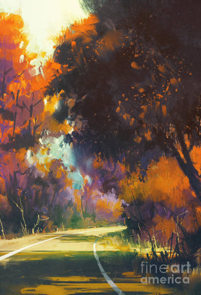 Painting Of Road In Autumn Poster