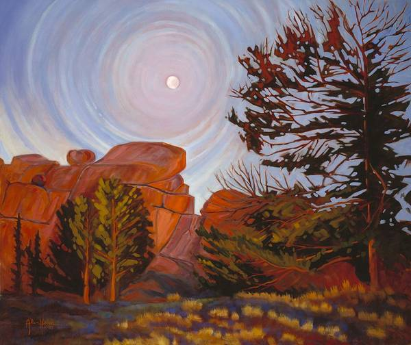 Pale Moon Over Vedauwoo Poster