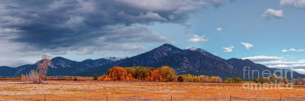 Panorama Of Ominous Clouds Above Pueblo Peak And Sangre De Cristo Mountains - Taos New Mexico Poster