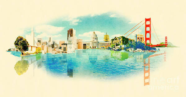 Panoramic Water Color Illustration San Poster