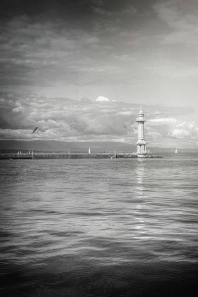 Paquis Lighthouse Geneva Black And White  Poster