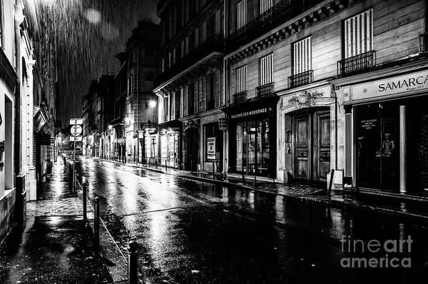 Paris At Night - Rue Saints Peres Poster