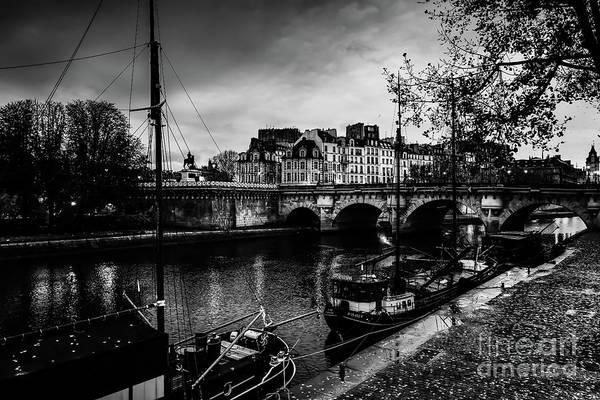 Paris At Night - Seine River Towards Pont Neuf Poster