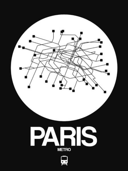 Paris White Subway Map Poster
