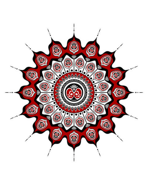 Peacock Feathers Mandala In Black And Red Poster
