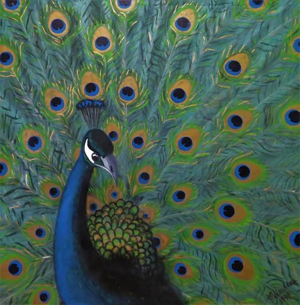 Poster featuring the painting Peacock by Joan Stratton
