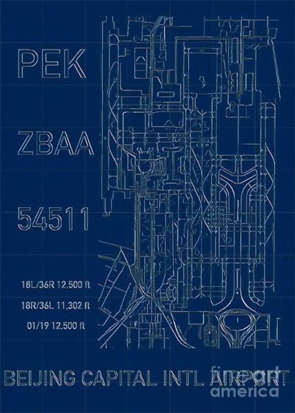 Pek Beijing Capital Airport Blueprint Poster