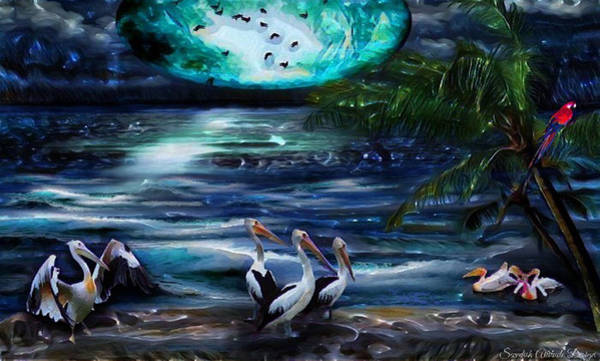 Pelicans On The Shore Poster