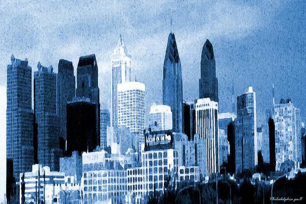 Philadelphia Blue - Watercolor Painting Poster