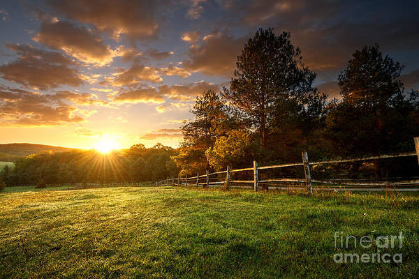 Picturesque Landscape, Fenced Ranch At Poster