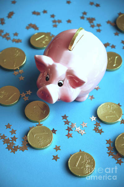Piggy Bank On The Background With The  Chocoladen Coins Poster