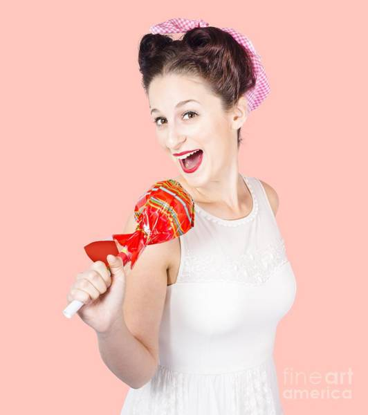 Pin-up Girl Singing Into Large Lollypop Microphone Poster