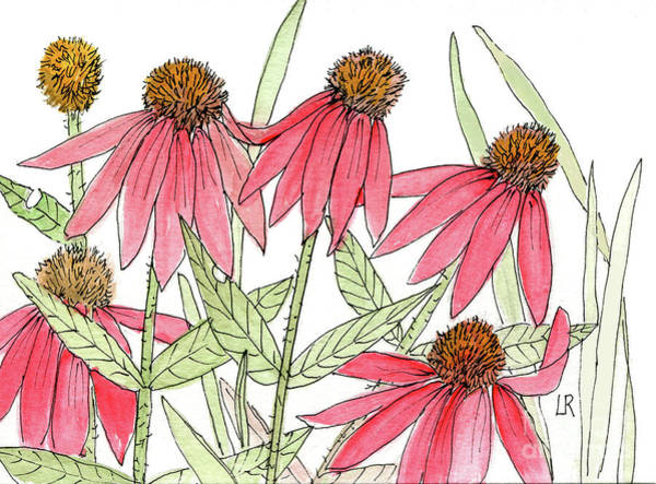 Pink Coneflowers Gather Watercolor Poster