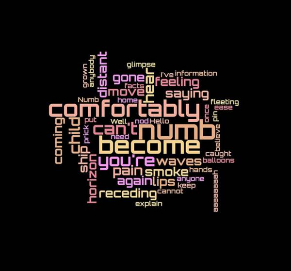Poster featuring the digital art Pink Floyd - Comfortably Numb Lyrical Cloud by Susan Maxwell Schmidt