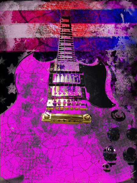 Pink Guitar Against American Flag Poster