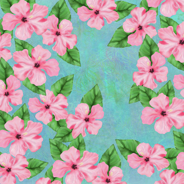 Pink Hibiscus Tropical Floral Print Poster