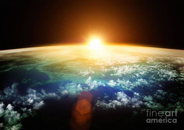 Planet Earth With A Spectacular Sunset Poster