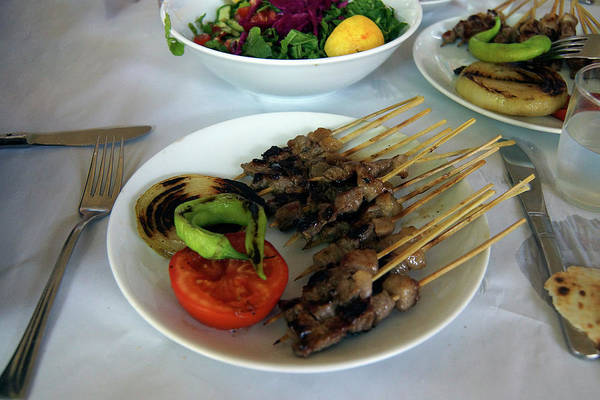 Plate Of Kebabs And Salad For Lunch Poster