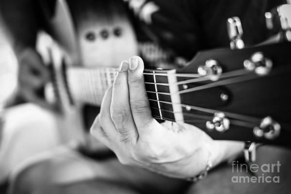 Playing Guitar Close Up. Selective Poster