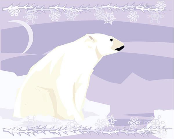 Polar Bear In A Decorative Illustration Poster