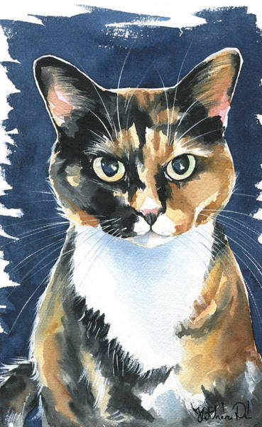 Poppy Calico Cat Painting Poster