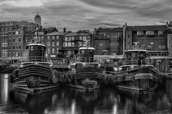 Portsmouth Tugboats At Dawnt In Black And White Poster