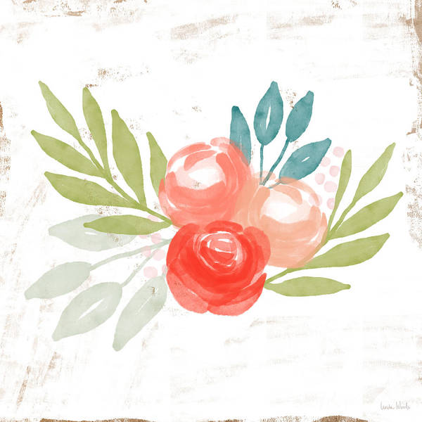 Pretty Coral Roses - Art By Linda Woods Poster