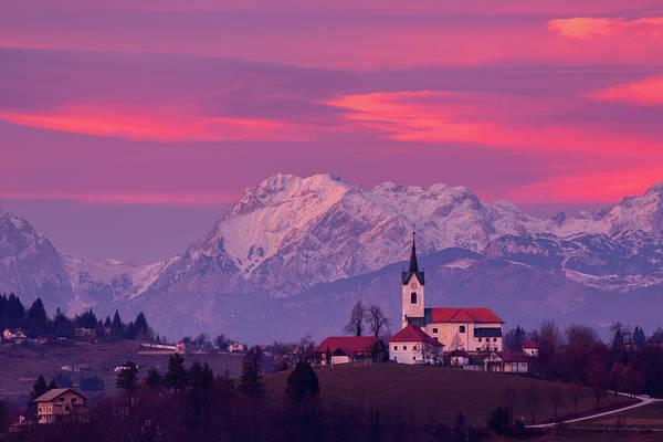 Prezganje Church With Snowy Kamnik Alps At Sunset Poster