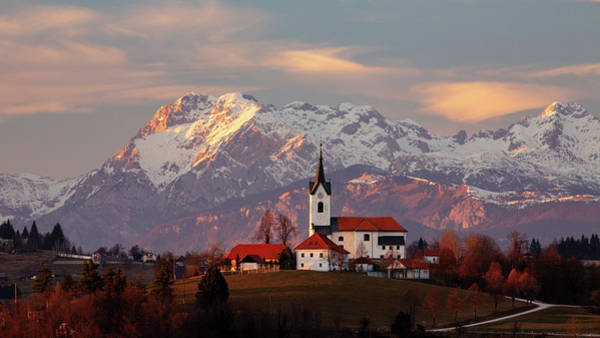 Prezganje Church With Snowy Kamnik Alps In The Background. Poster