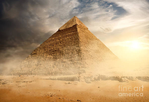 Pyramid In Sand Dust Under Gray Clouds Poster