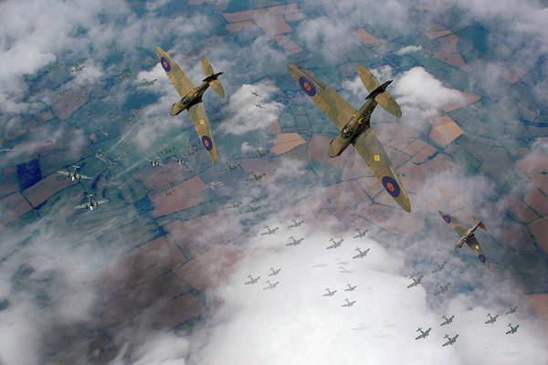 Raf Spitfires Swoop On Heinkels In Battle Of Britain Poster
