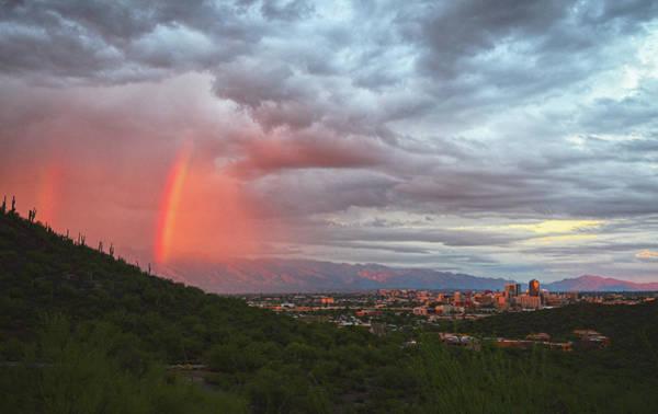 Rainbow Over Tucson Skyline Poster