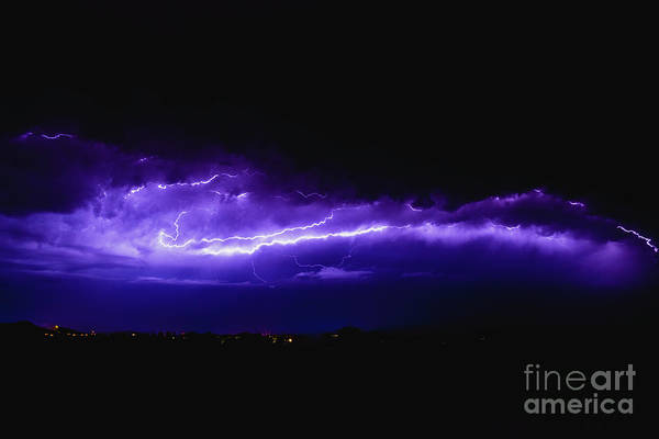 Rays In A Night Storm With Light And Clouds. Poster