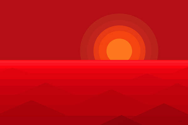 Red Abstract Sunset Poster