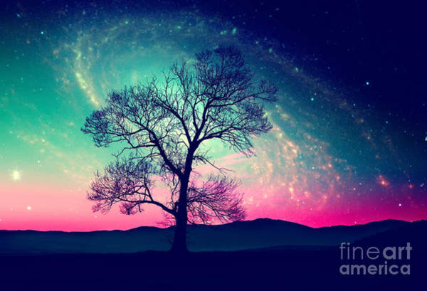 Red Alien Landscape With Alone Tree Poster