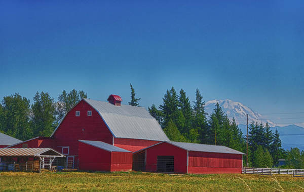 Red Barn With Mount Rainier Poster