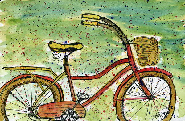 Red Bicycle Yellow Seat Poster